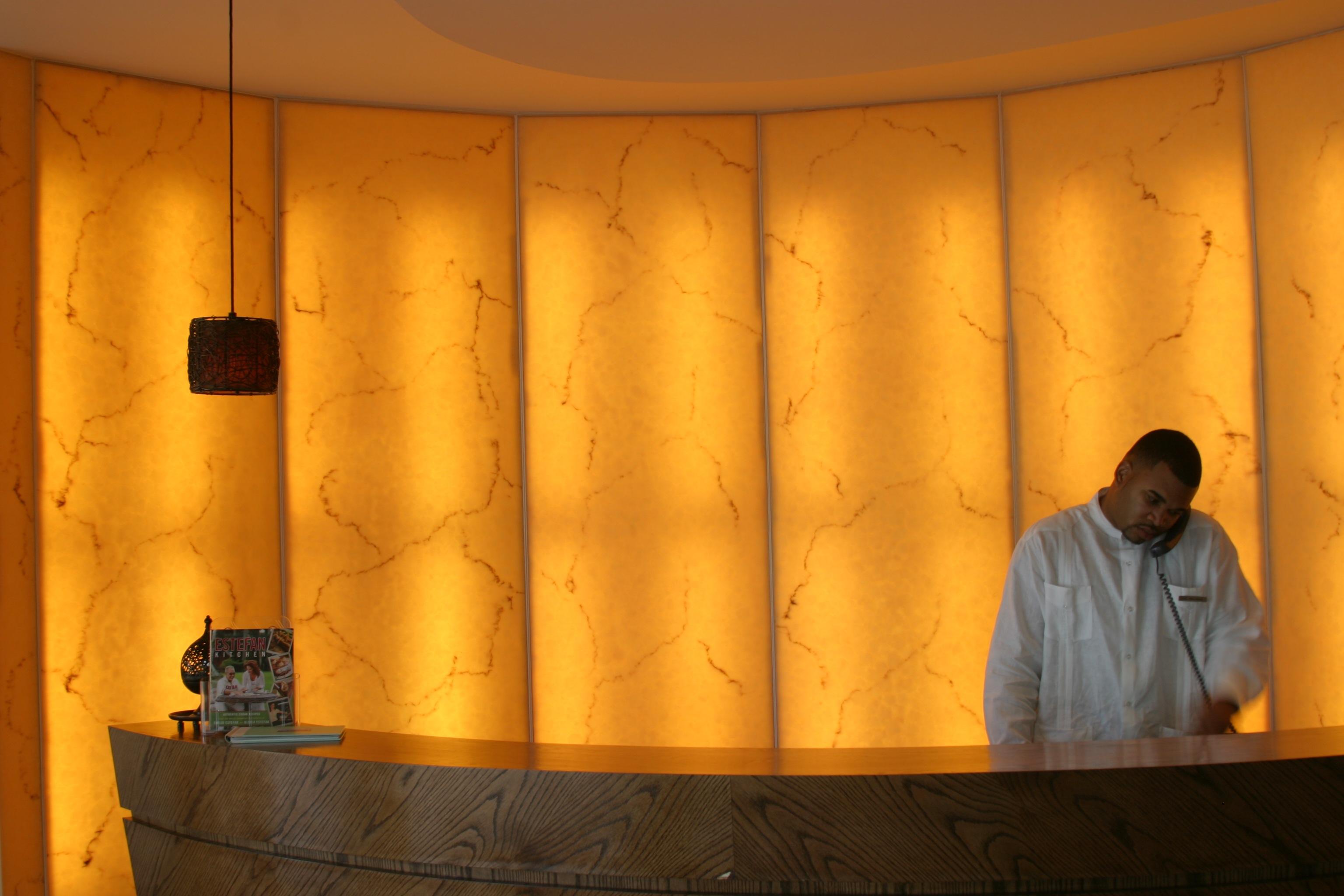Custom Onyx wall with backlight at Costa D'Este